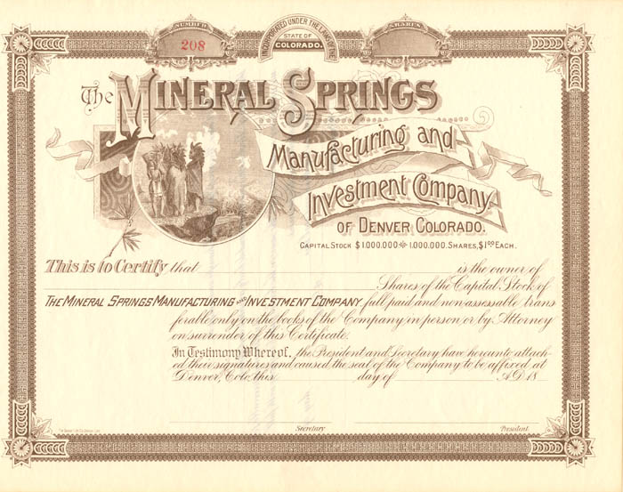 Mineral Springs Manufacturing and Investment Company of Denver, Colorado