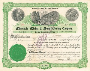 John Dwan and E. B. Ober, Henry S. Bryan, or Henry W. Cable - 3M - Minnesota Mining & Manufacturing Co - Stock Certificate