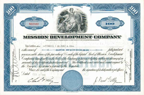 "Mission Development Co. - J. Paul Getty - The Man behind the Movie ""All the Money in the World"" - Stock Certificate"