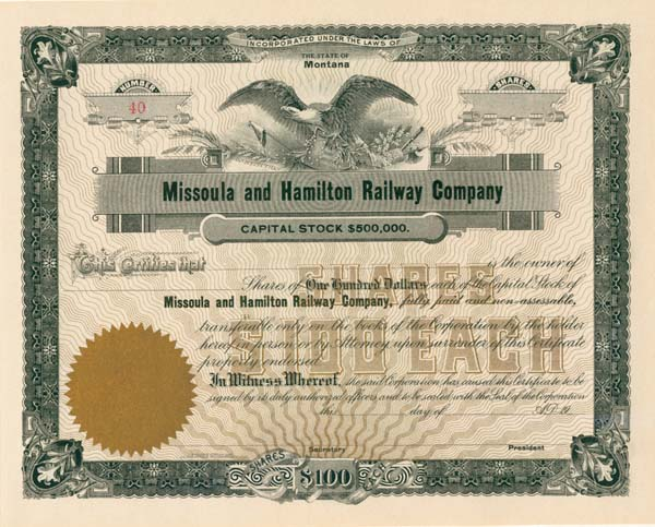 Missoula & Hamilton Railway Company - Stock Certificate