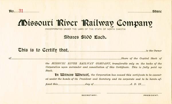 Missouri River Railway - Stock Certificate