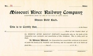 Missouri River Railway - Stock Certificate