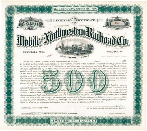 Mobile & Northwestern Railroad - Bond