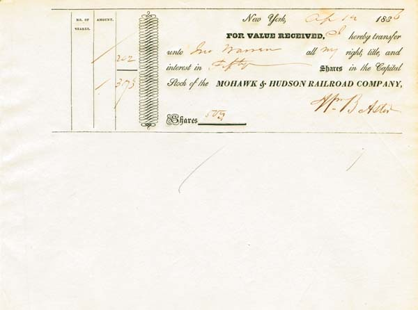 Mohawk & Hudson Railroad Transfer signed by William Backhouse Astor - Stock Certificate