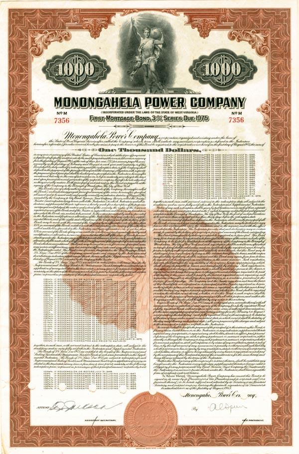 Monongahela Power Company - $1,000 Bond