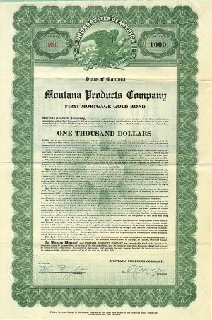 Montana Products Company - $1,000 Bond
