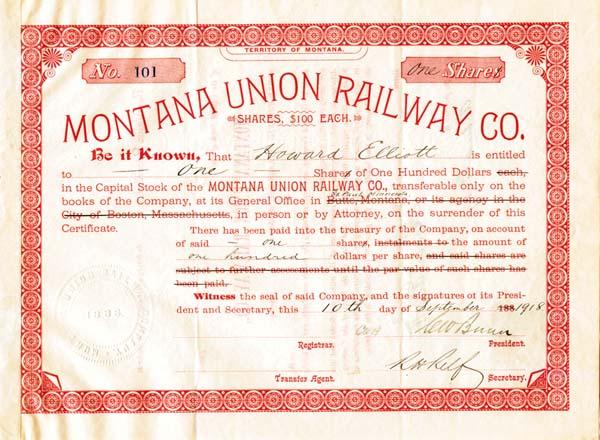 Montana Union Railway Company - Stock Certificate