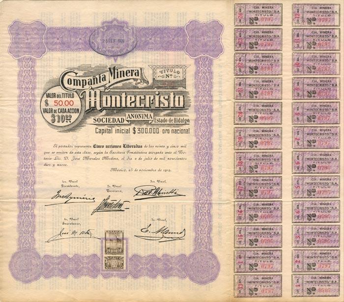 Compania Minera Montecristo - Stock Certificate