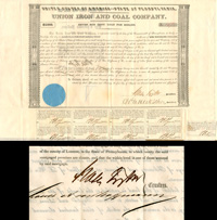 Union Iron and Coal Company signed by Moses Taylor - $1,000