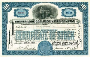 Mother Lode Coalition Mines Company - Stock Certificate