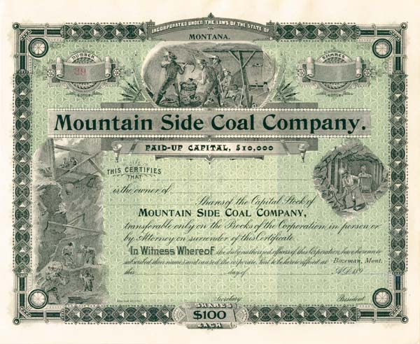 Mountain Side Coal Company - Stock Certificate