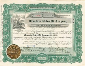 Mountain States Oil Company - Stock Certificate