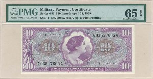 Military Payment Certificate - Series 651 $10 Issued - PMG 65