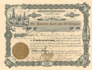 Mt. Hamilton Land and Oil Company - Stock Certificate