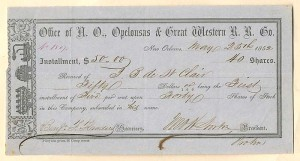 Office of N.O. Opelousas & Great Western R.R. Co. - SOLD