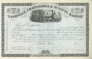 "Edmund W. ""King"" Cole Nashville, Chattanooga & St. Louis Railway - Stock Certificate"