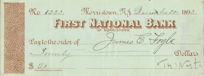 First National Bank of Morristown signed by Thomas Nast- SOLD