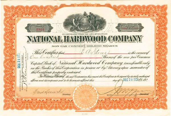 National Hardwood  Company - Stock Certificate