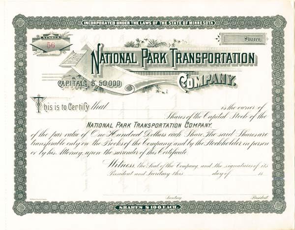 National Park Transportation Company - Stock Certificate