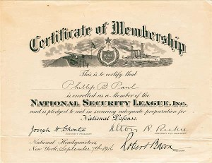 National Security League Membership Certificate - WWI - SOLD