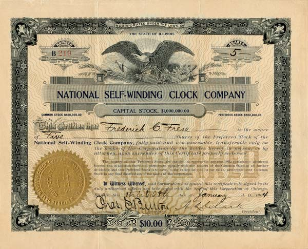 National Self-Winding Clock Company - SOLD