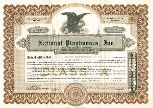 National Playhouses, Inc - Stock Certificate