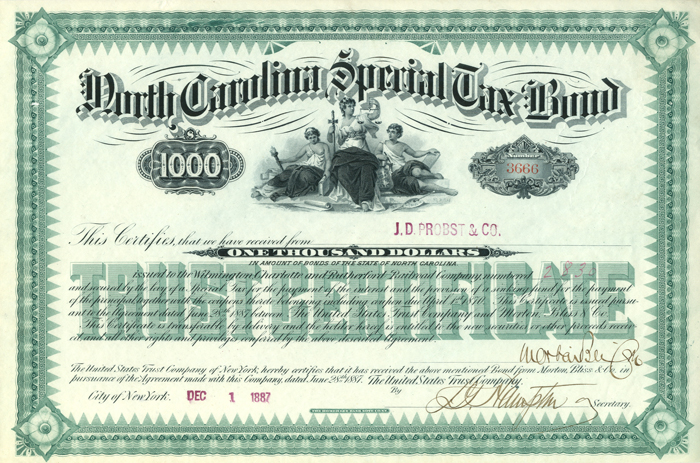 North Carolina Special Tax Bond $1000 Bond
