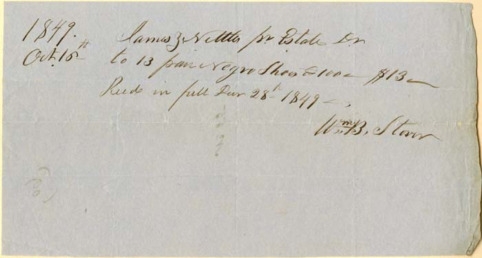 Receipt for Negro Shoes - Slavery Document - SOLD