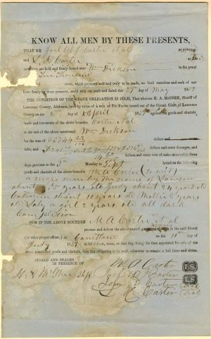Document for the Purchase of a Negro Man, Woman and Children - SOLD