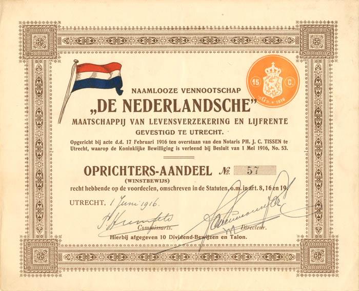 """""""De Nederlandsche"""" Maatschappij Van Levensverzekering en Lijfrente"""