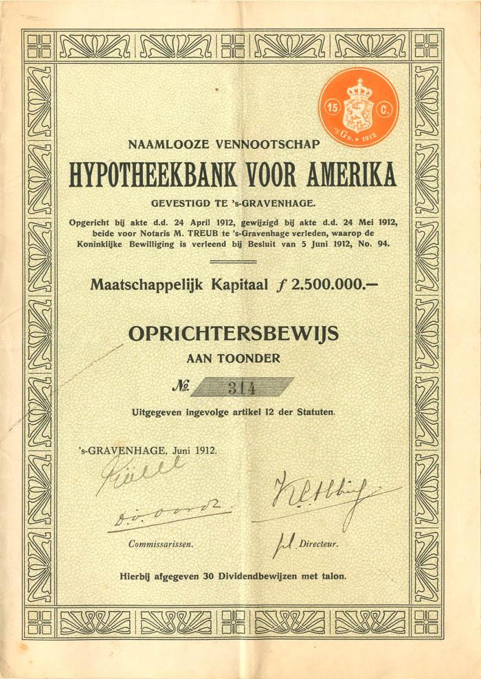 Hypotheekbank Voor Amerika - Stock Certificate