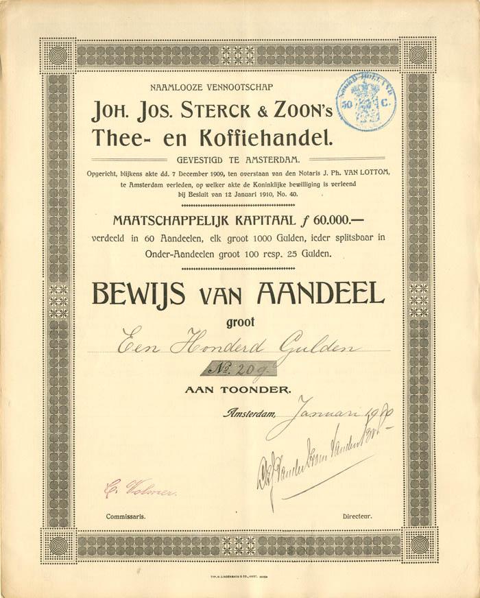 Joh. Jos. Sterck and Zoon's Thee- en Koffiehandel