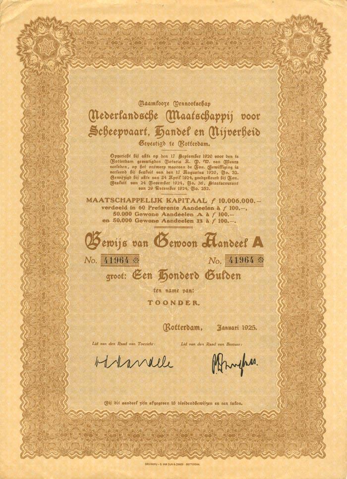 Nederlandsche Maatschappij voor Scheepvaart, Handel en Nijverheid