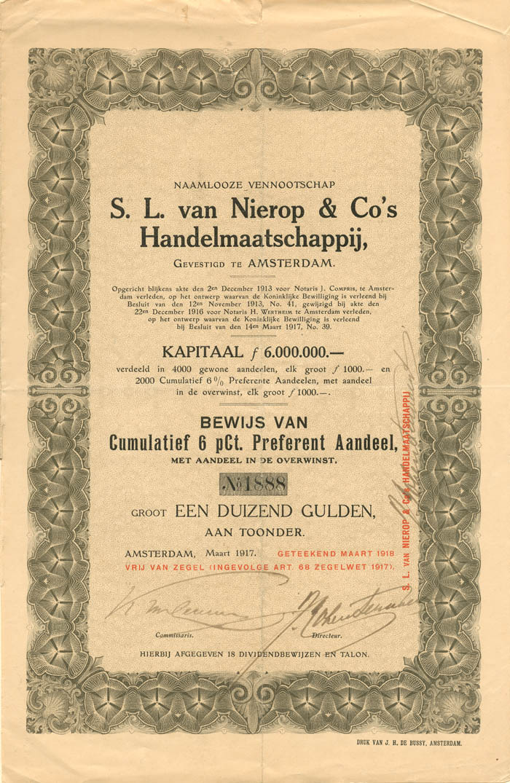 S. L. van Nierop and Co's Handelmaatschappij, Gevestigd te Amsterdam