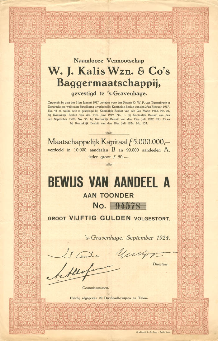 W.J. Kalis Wzn. and Co's Baggermaatschappij