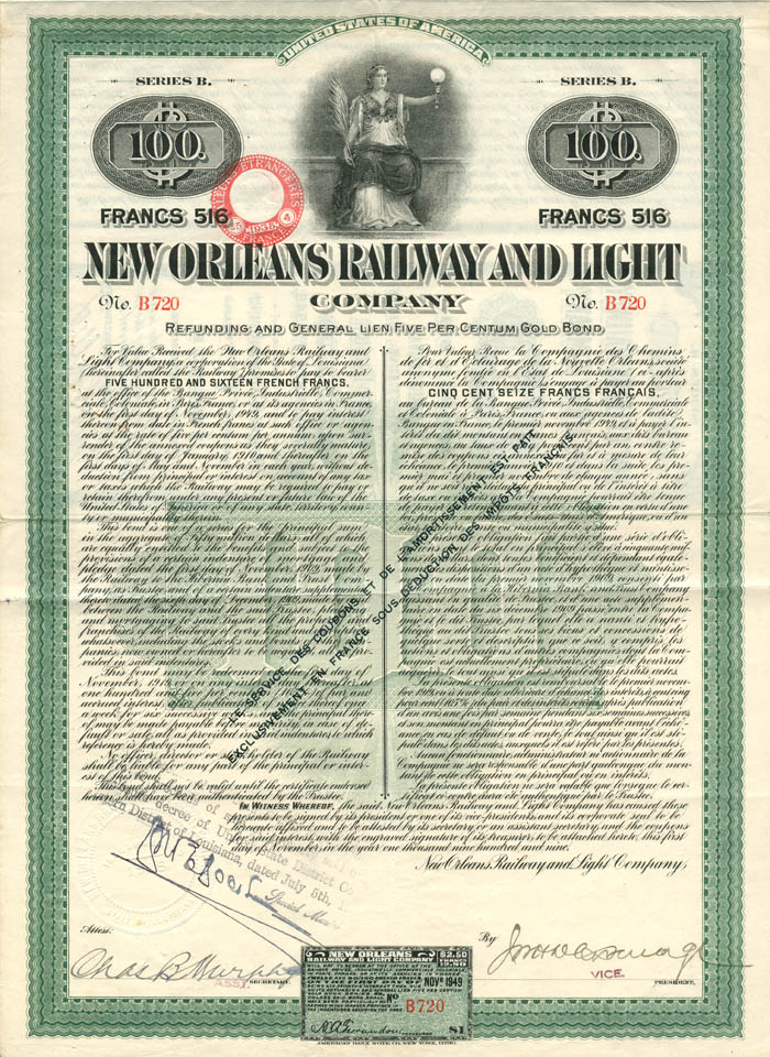 New Orleans Railway and Light Company - $100