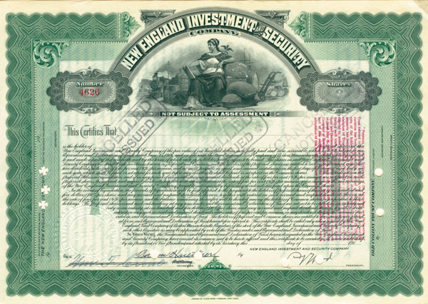 New England Investment & Security Company - Stock Certificate