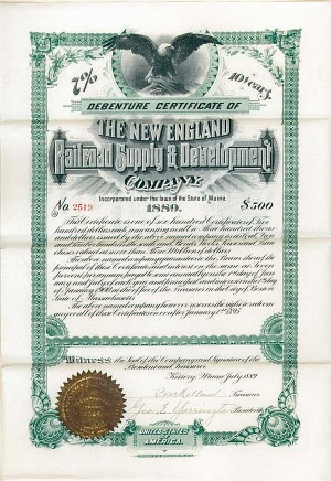 New England Railroad Supply & Development Company - Bond