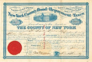 New York County Bond for the Repayment of Taxes