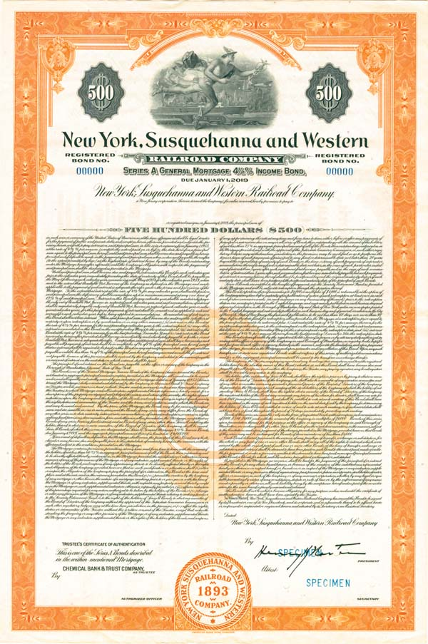 New York, Susquehanna & Western Railroad Company - Bond