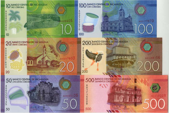Nicaragua Set Of 6 P New Foreign Paper Money