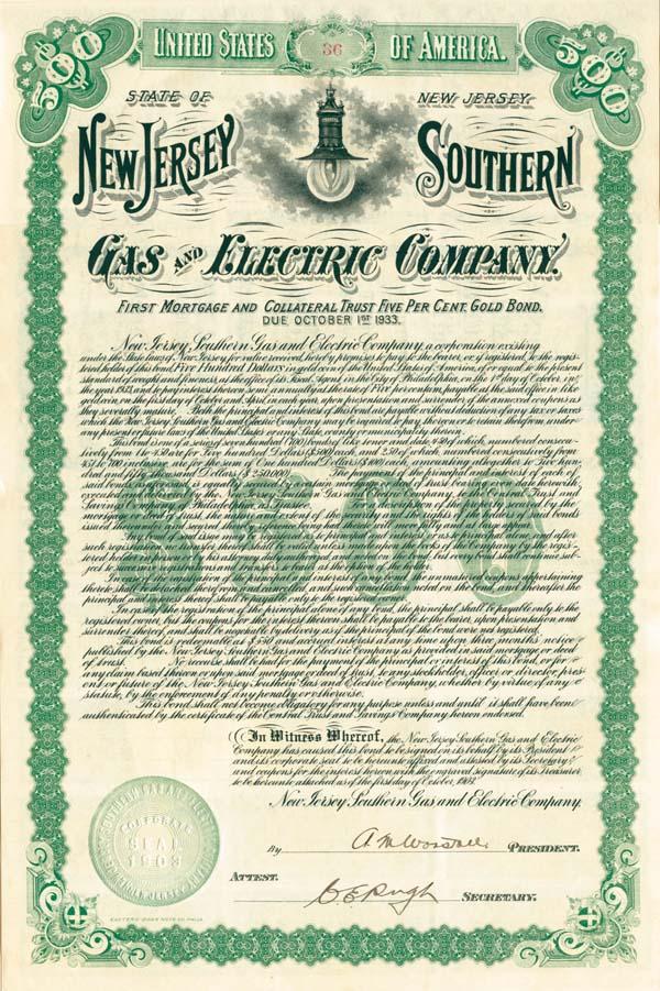 New Jersey Southern Gas & Electric Company - Bond