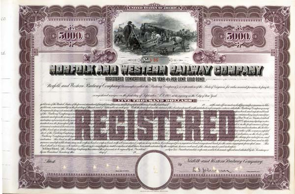 Norfolk and Western Railway Company - Unissued but with President's signature - Bond