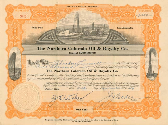 Northern Colorado Oil & Royalty Co.  - Stock Certificate