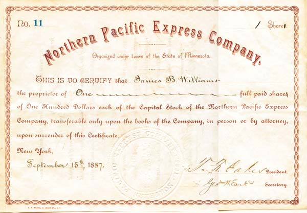 Northern Pacific Express Company - Stock Certificate