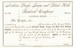 Northern Pacific Fergus & Black Hills Railroad - Stock Certificate