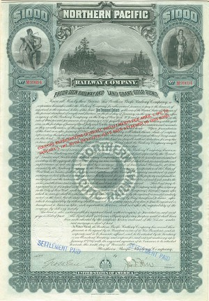 James N. Hill - Northern Pacific Railway Company $1,000 Gold Bond signed by James Norman Hill, son of Legendary Railroad Tycoon James Jerome Hill