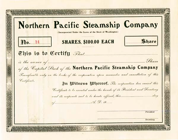 Northern Pacific Steamship Company - Stock Certificate
