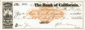 Bank of California - 1870's dated Check