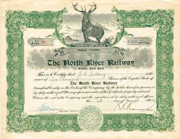 North River Railway - Stock Certificate